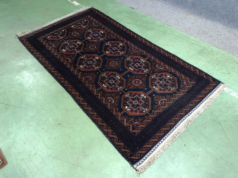 Handmade Afghan Wool And Silk Rug 1950s
