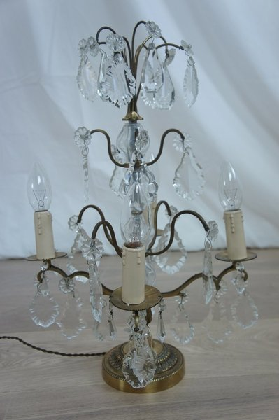 Brass And Crystal Lamp photo 1