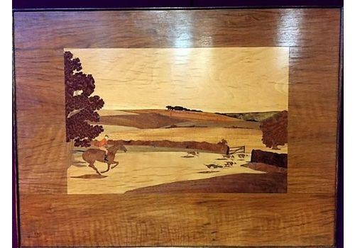 Rowley Gallery Style Art Deco Marquetry Panel Of Hunting Scene, 1920 30