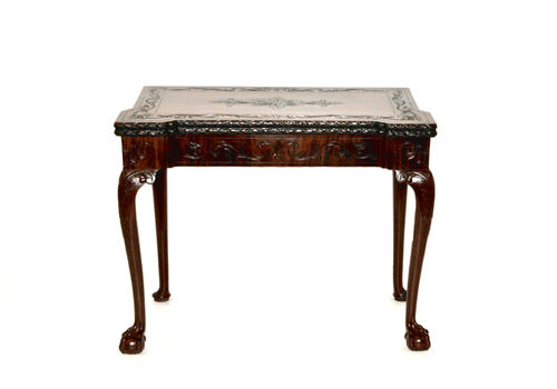Magohany And Cast Iron Round Top Side Occasional Table Antique Small Table Furniture