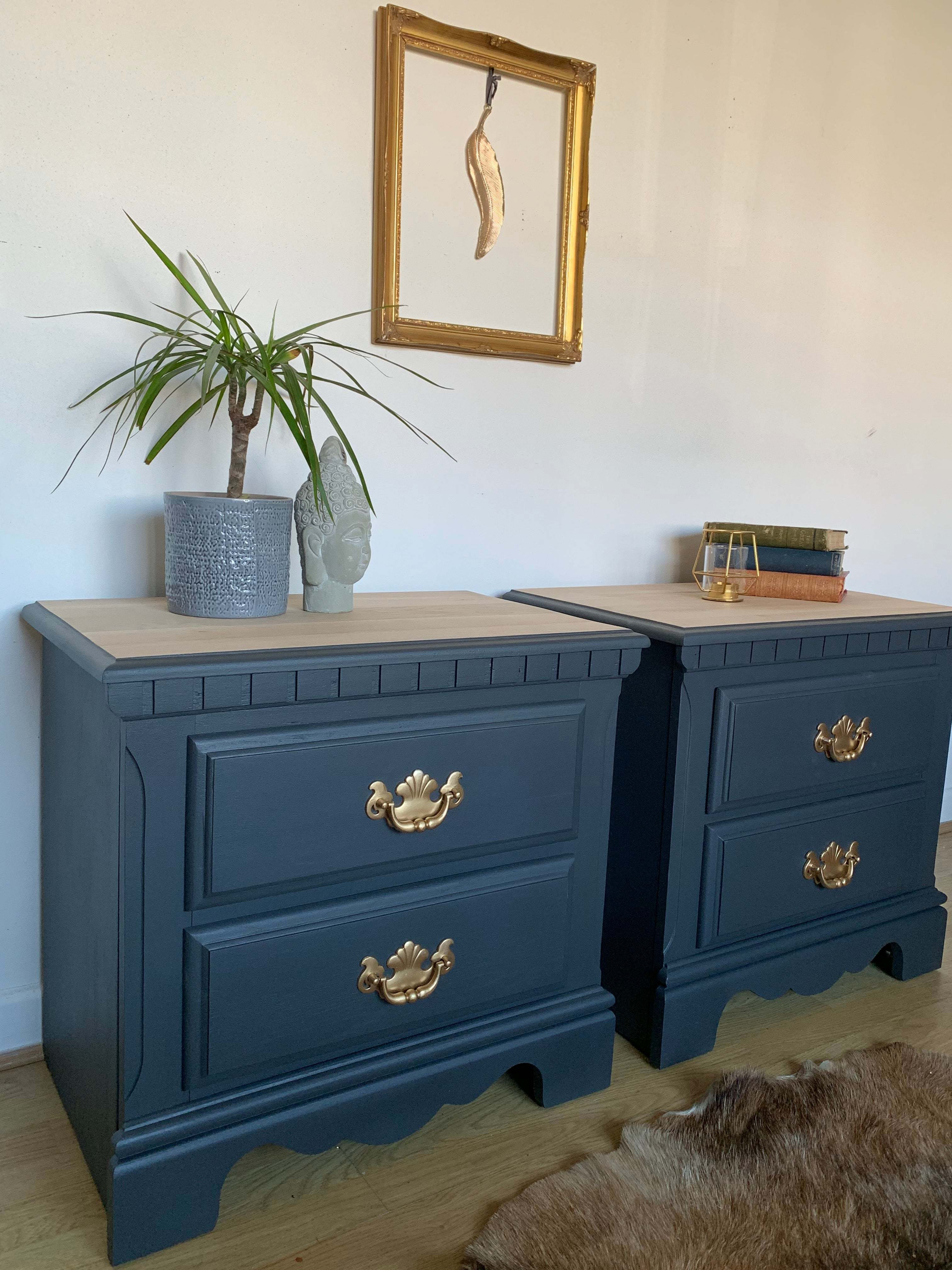 Grey Bedside Tables: A Pair Of Dark Grey Bedside Tables