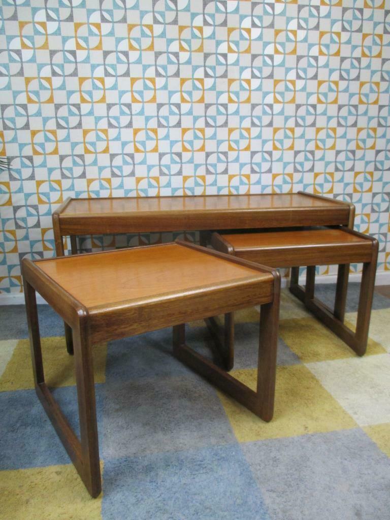 Vintage 1960s Avalon Teak Coffee Table Nest Mid Century Retro