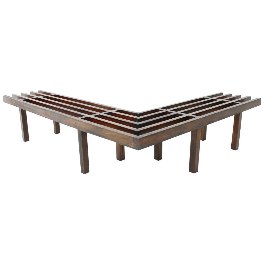Corner Wood Midcentury Bench Slat Bench 1960s