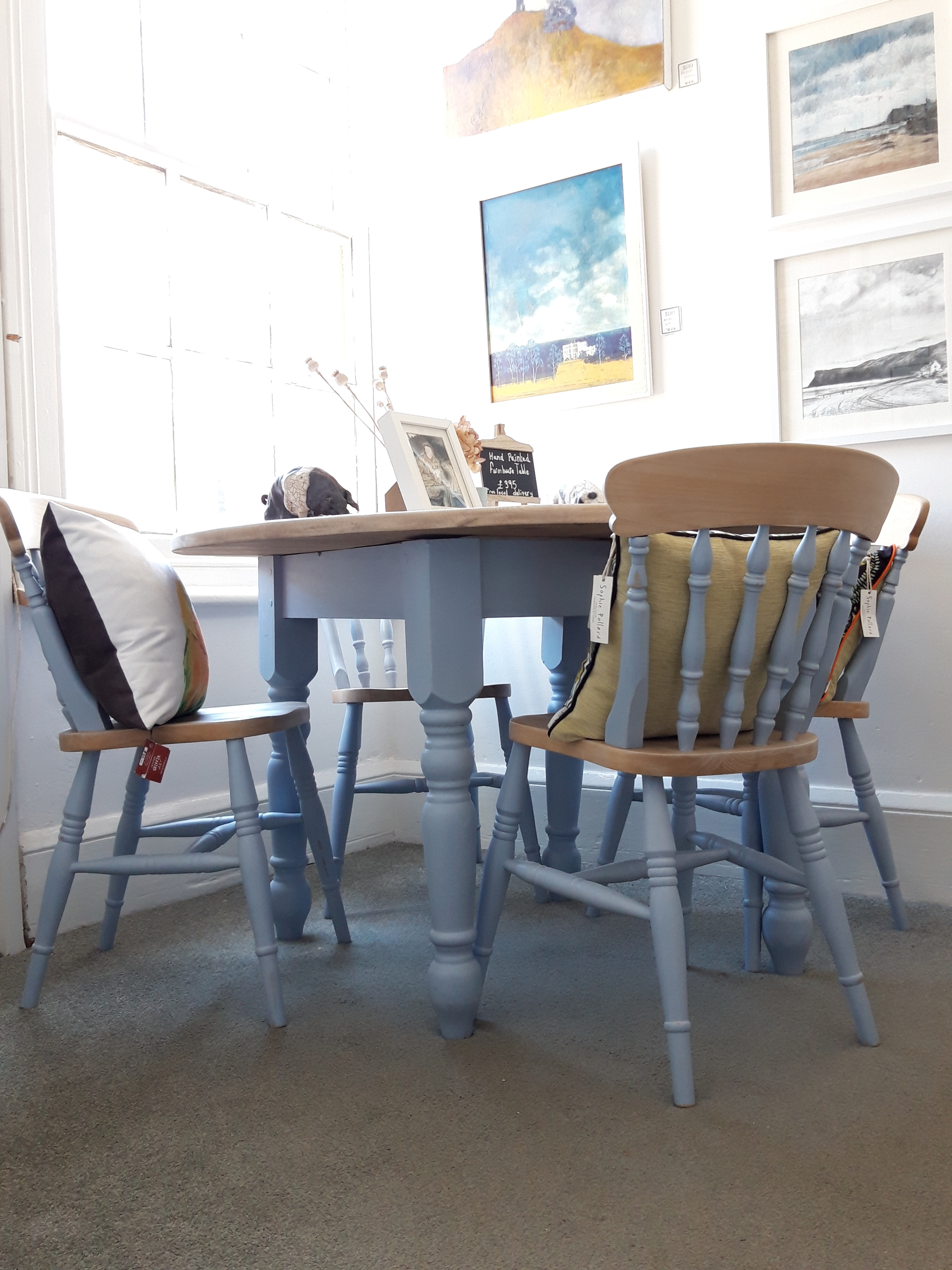 Farmhouse Style Hand Painted Round Pine Dining Table 4 Chairs Soft Blue Grey Modern Look Rustic Kitchen Or New Home