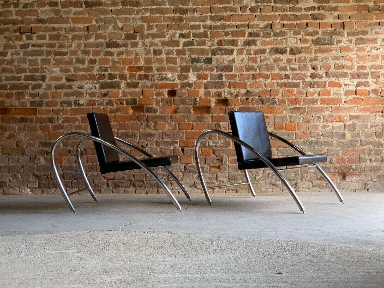 Pleasing Moreno Chrome Leather Lounge Chairs By Francois Scali Alain Domingo For Nemo Theyellowbook Wood Chair Design Ideas Theyellowbookinfo