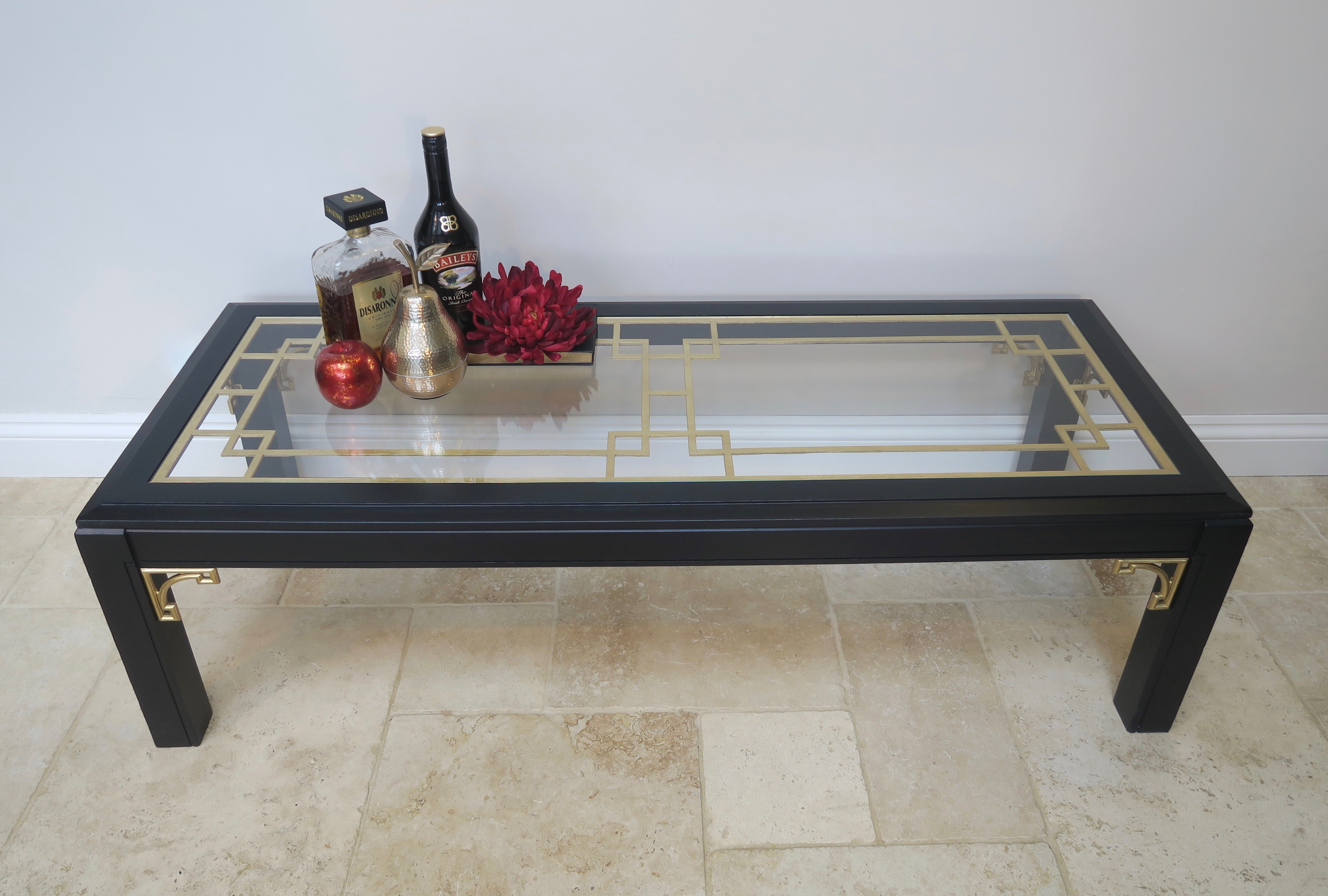 - Black & Gold Glass Coffee Table Vinterior