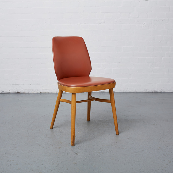 Set Of Four Mid Century Wood And Vinyl Dining Chairs