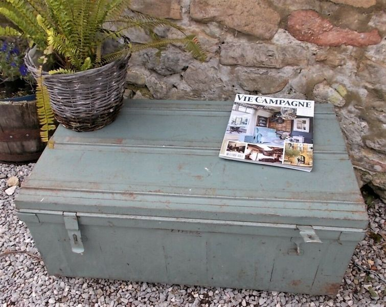 Coffee Table Toy Chest.Vintage Tin Trunk Coffee Table Blanket Box Storage Toy Tool Chest Grey