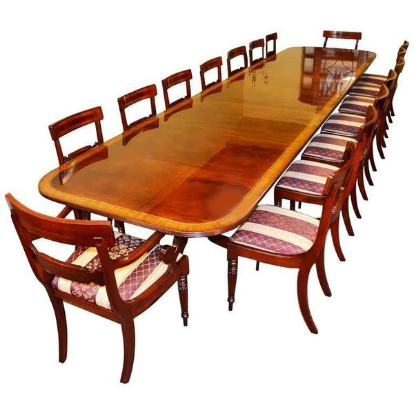 16ft Regency Dining Table & 16 Chairs Flame Mahogany photo 1