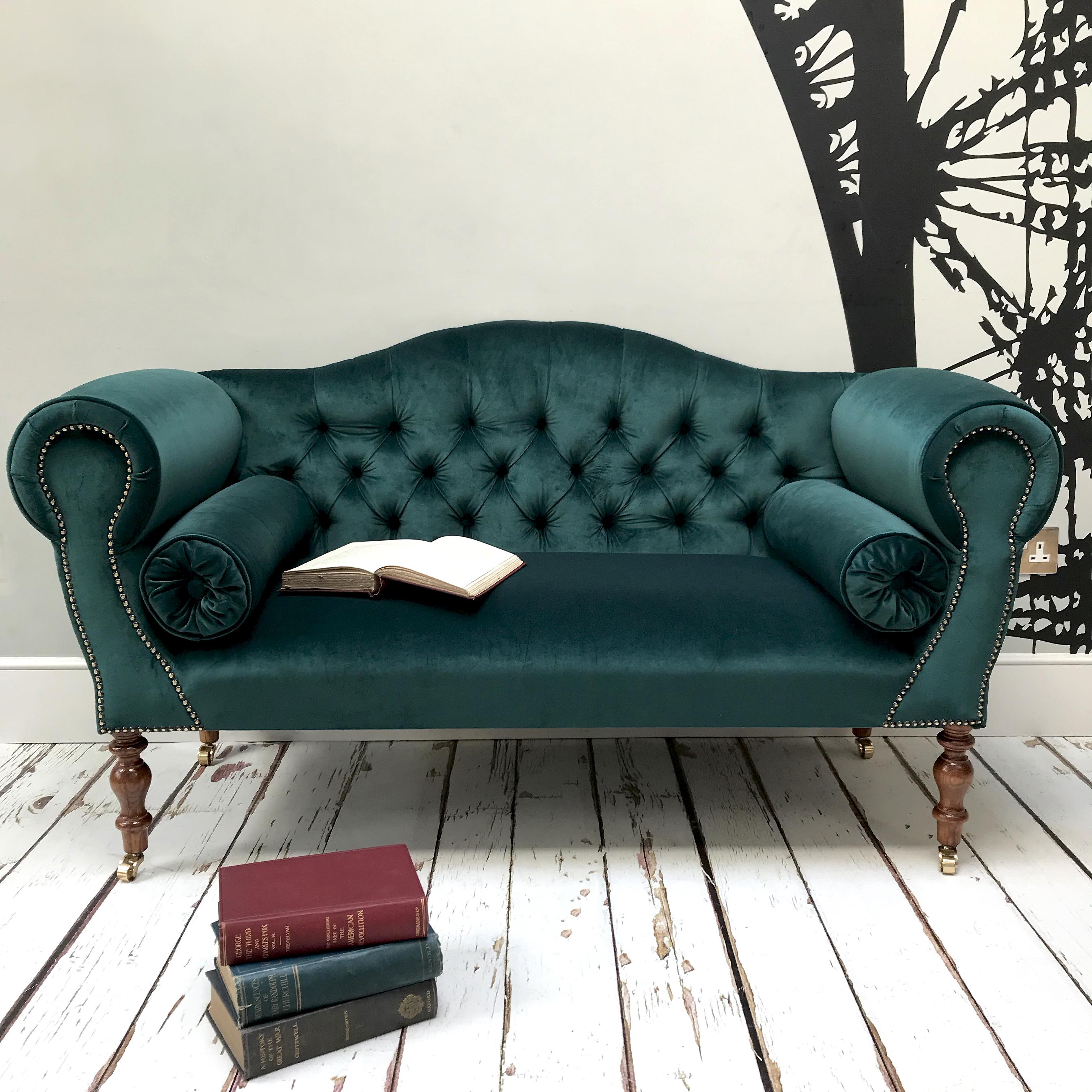 Emerald Green Velvet Sofa New Made To