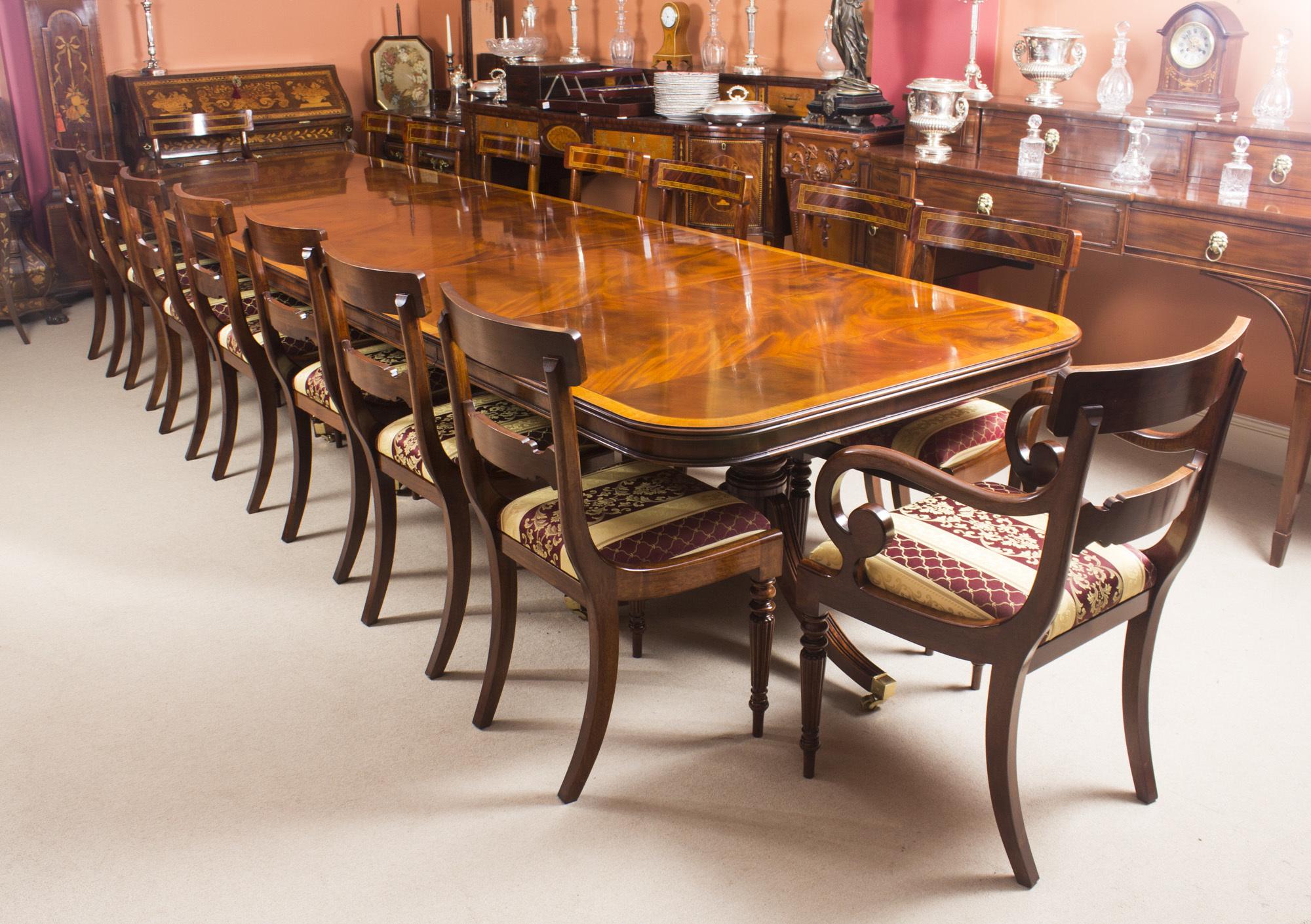 Bespoke 14 Ft Three Pillar Mahogany Dining Table And 16 Chairs Vinterior
