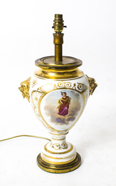 Antique French Hand Painted Gilt Porcelain Lamp C 1850