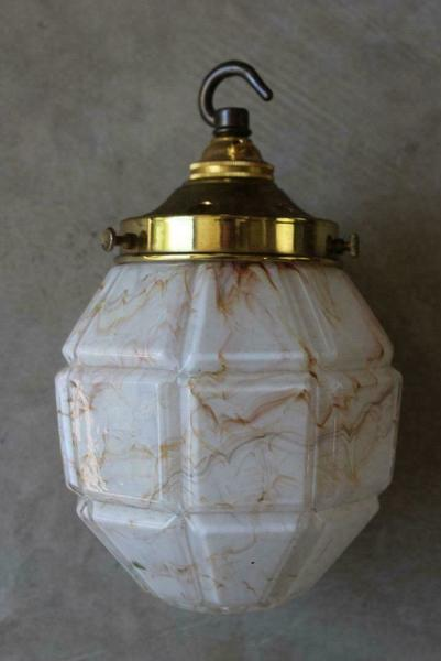 Vintage Deco Style Mottled Glass Pendant Light Lamp Shade