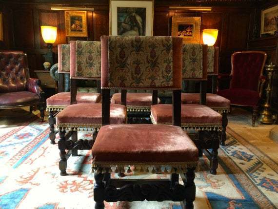 Six Oak Antique Dining Chairs 17th Century Style