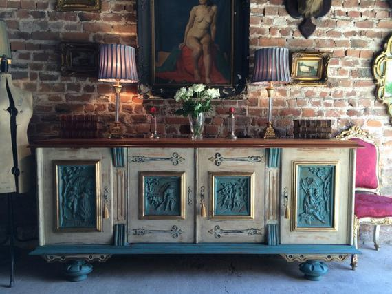 Antique Style French Painted Oak Sideboard Credenza