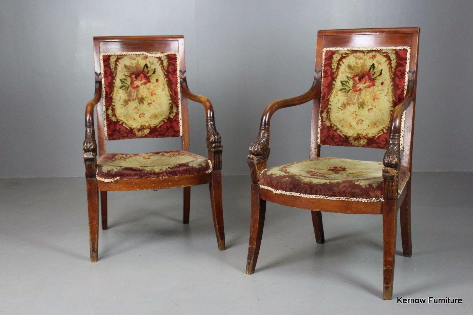 Pair French Upholstered Armchairs Occasional Bedroom Side Chairs