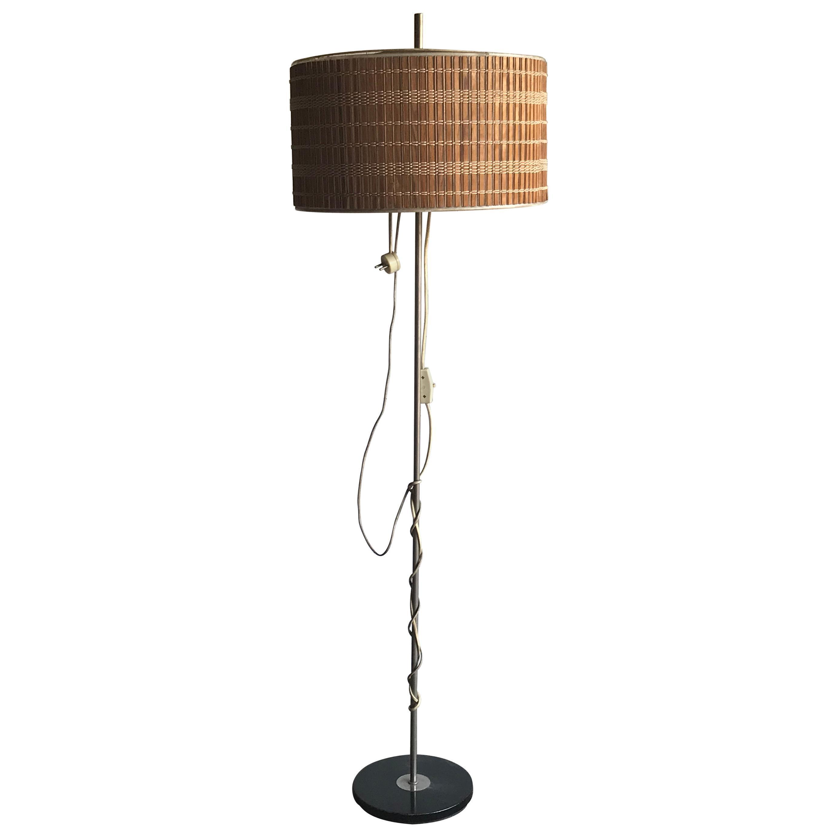 Midcentury Floor Lamp With Wooden Shade Vinterior