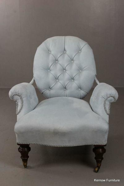Antique Pale Blue Upholstered Small Button Back Chair Armchair