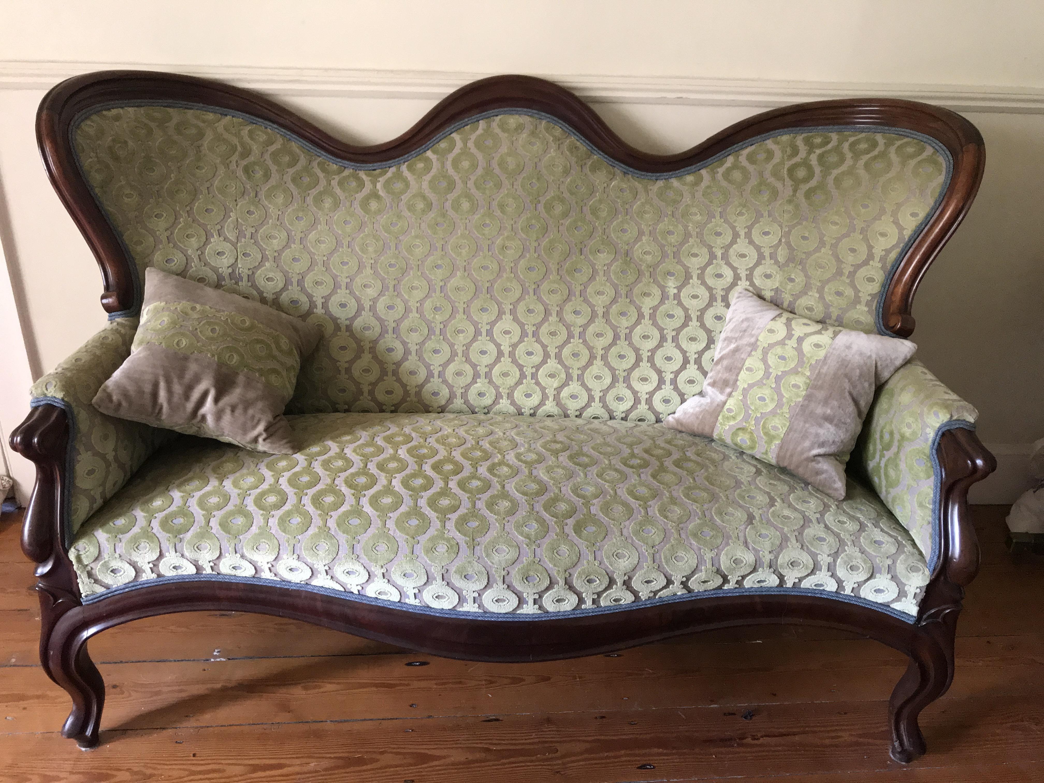 Antique Upholstered Velvet Sofa With