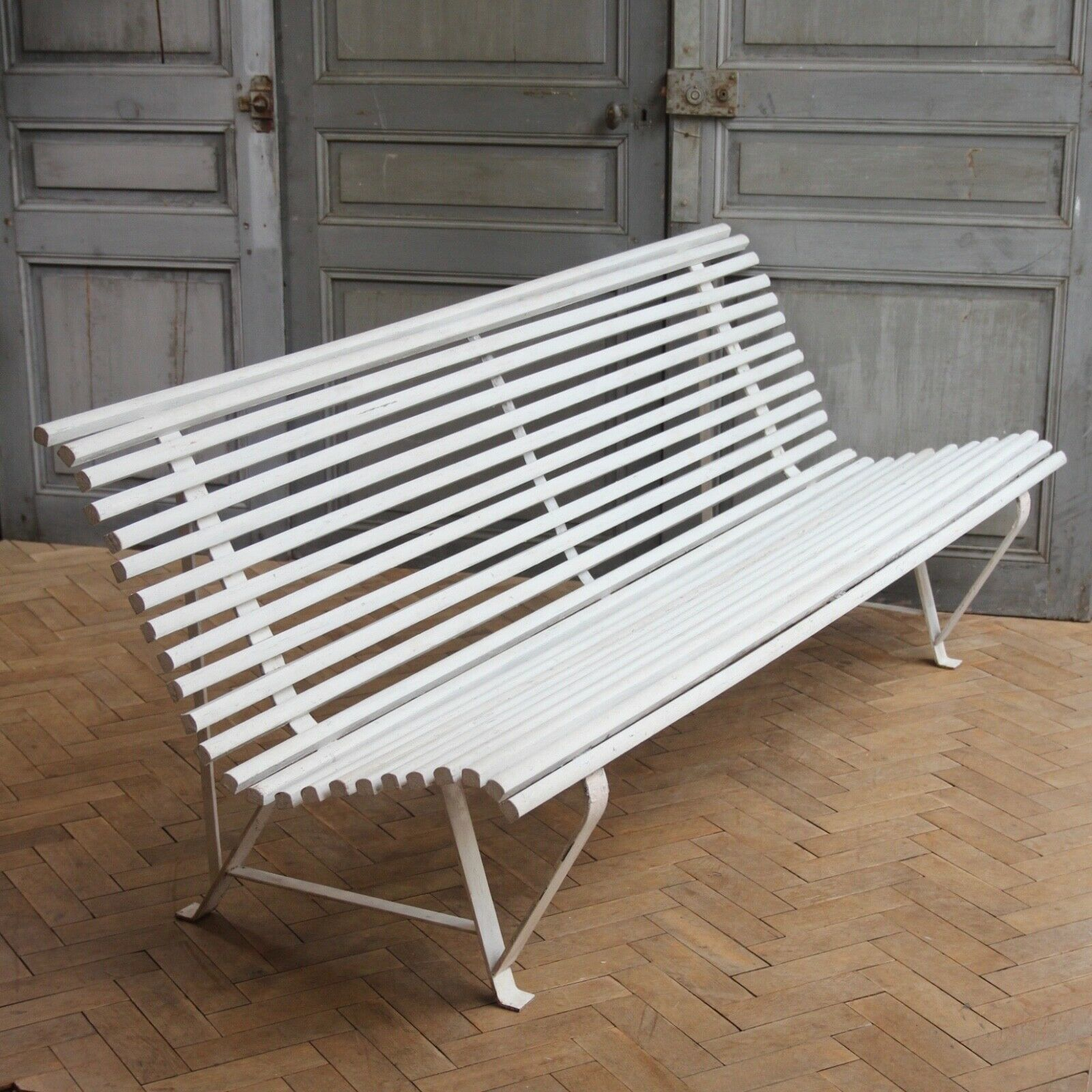 Pleasant Vintage French White Wooden Slatted Garden Bench Mid Century Caraccident5 Cool Chair Designs And Ideas Caraccident5Info