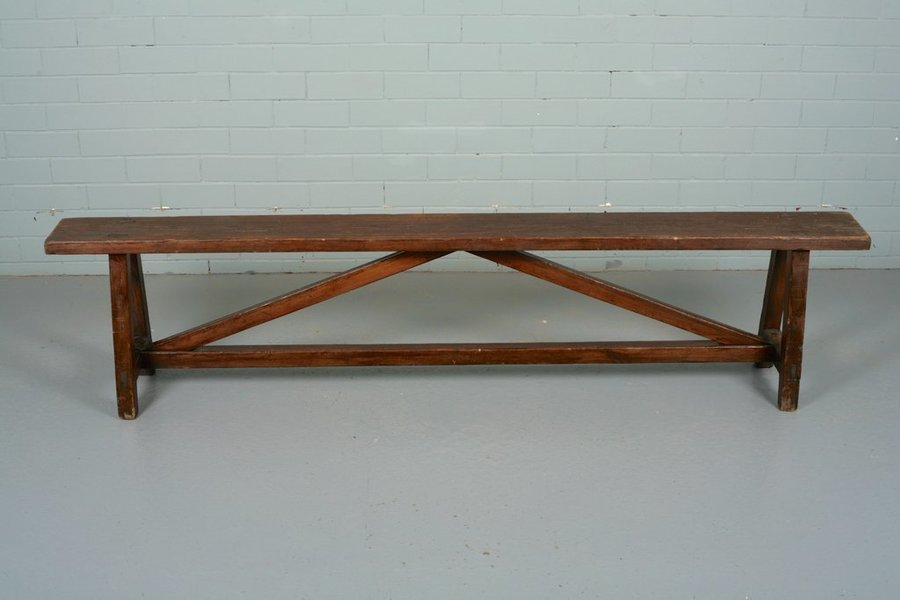 Long Pine Wooden Bench