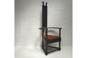 Thumb large wooden arts crafts caqueteuse chair antique art deco liberty style 0