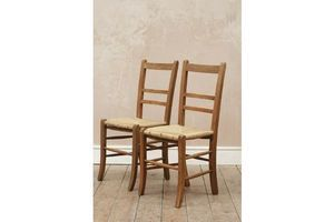 Thumb antique vintage rustic wooden rush seated chairs x2 0