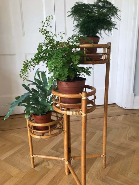Very Cool Mid Century Vintage Rattan Bamboo 3 Tiered Plant Stand Excellent Condition
