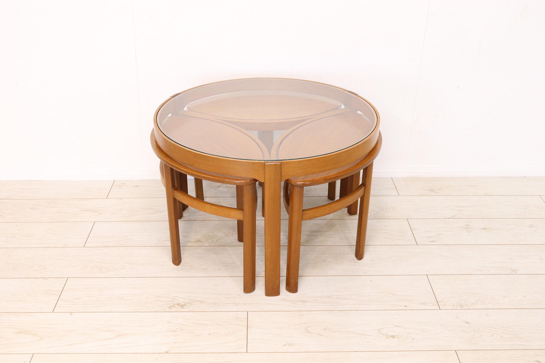 Mid Century Nathan Trinity Round Glass Retro Teak Coffee Table Nest Of Tables 1960 S Refinished G Plan Era