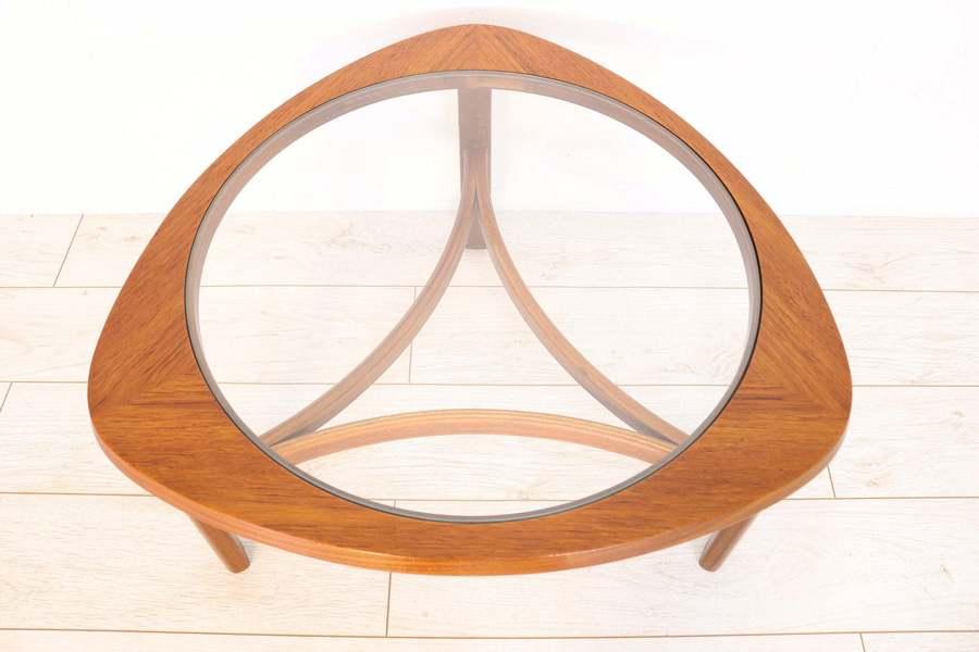 Mid Century Nathan Triangular Round Retro Teak Coffee Table With