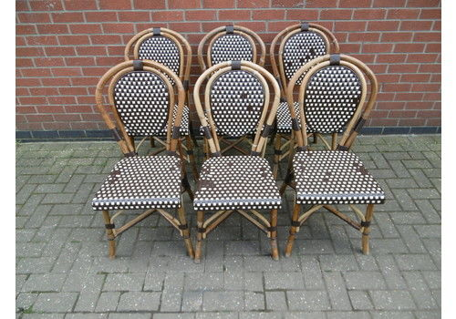 Set Of 6 French Bamboo Bistro Chairs