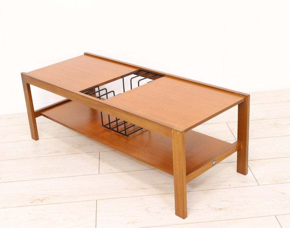 Retro Teak Coffee Table By Myer With Integrated Vinyl Rack Lp