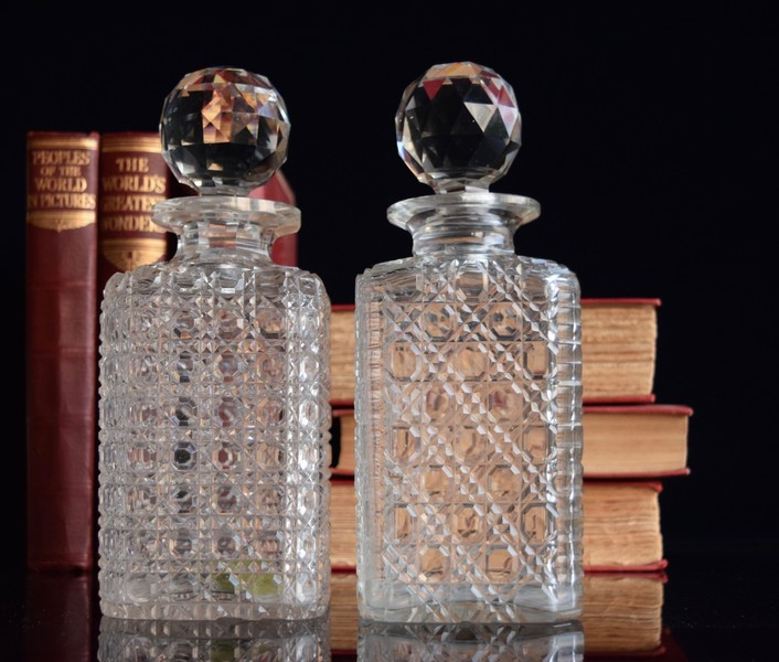 2 Hobnail Decanters In Fine Condition 1890 1910