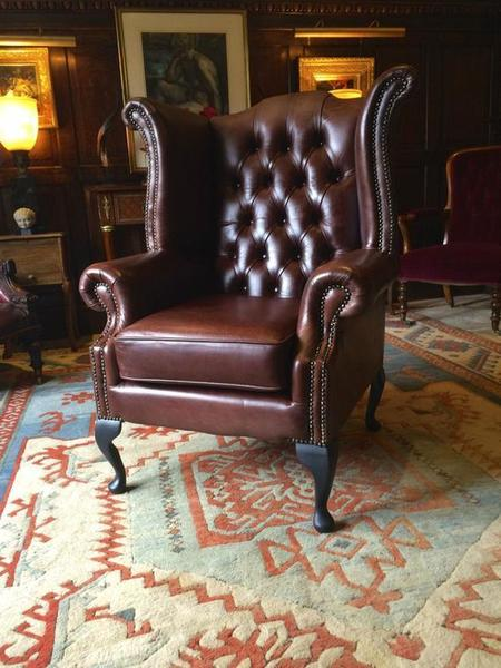 Antique Style Wing Back Armchair Brown Leather Chesterfield