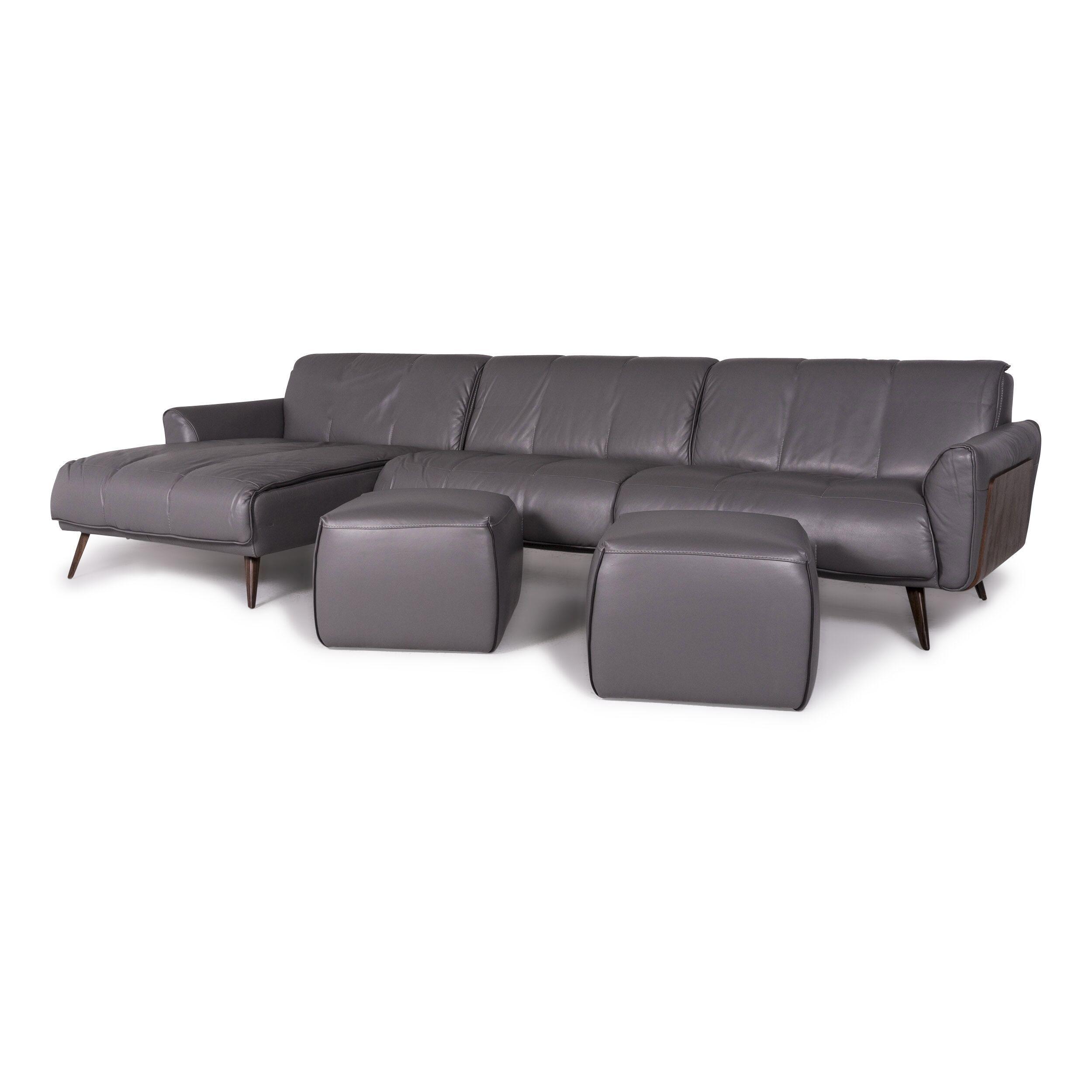Remarkable Natuzzi Editions Talento Designer Leather Sofa Set Gray 1X Corner Sofa 2X Stool 9438 Pabps2019 Chair Design Images Pabps2019Com