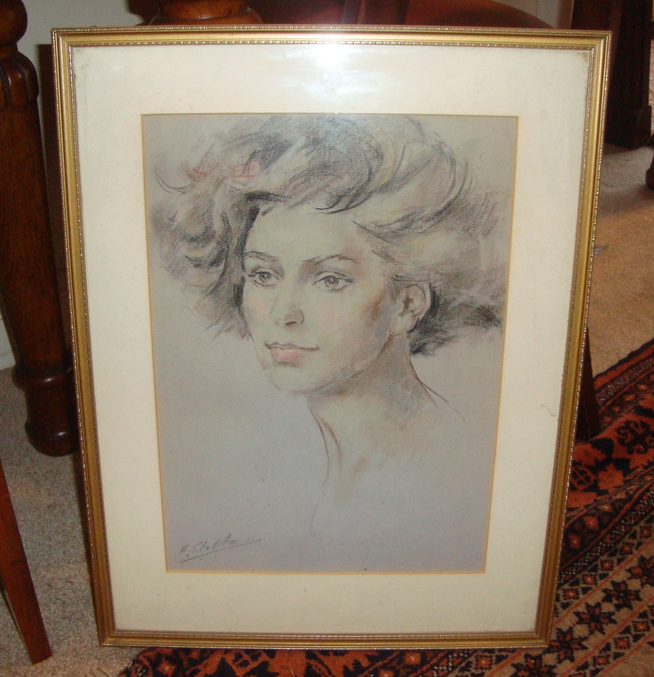 Framed coloured pencil drawing of a pretty lady