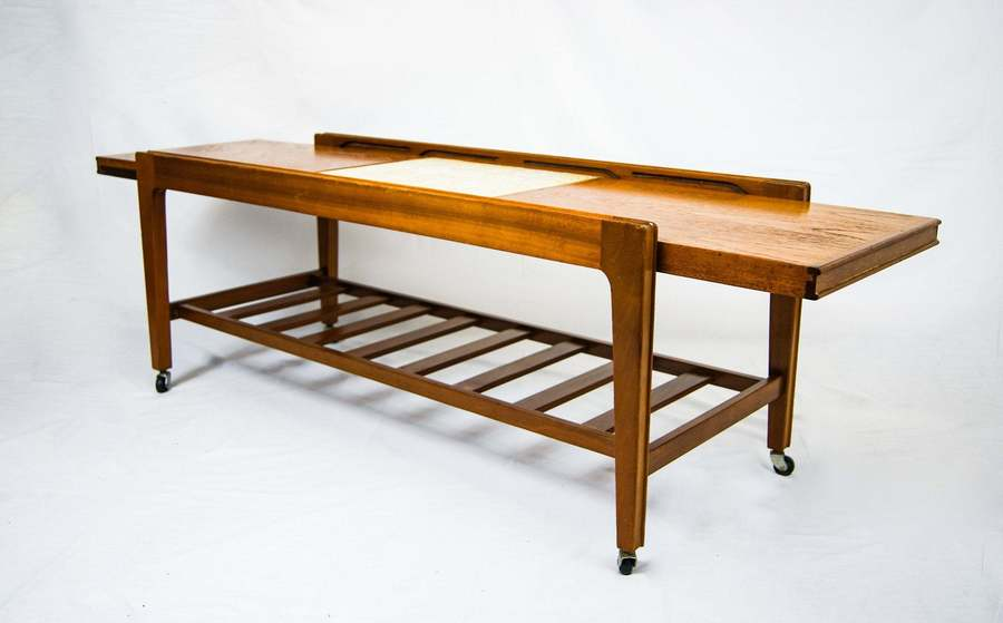 Mid Century Design Remploy Tiled Top Teak Wood Extendable Two Tier Coffee Table On Castor Wheels