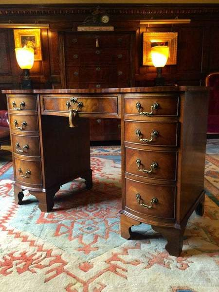 Antique Style Twin Pedestal Desk Leather Inset Serpentine Fronted