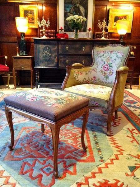 French Antique Armchair With Footstool