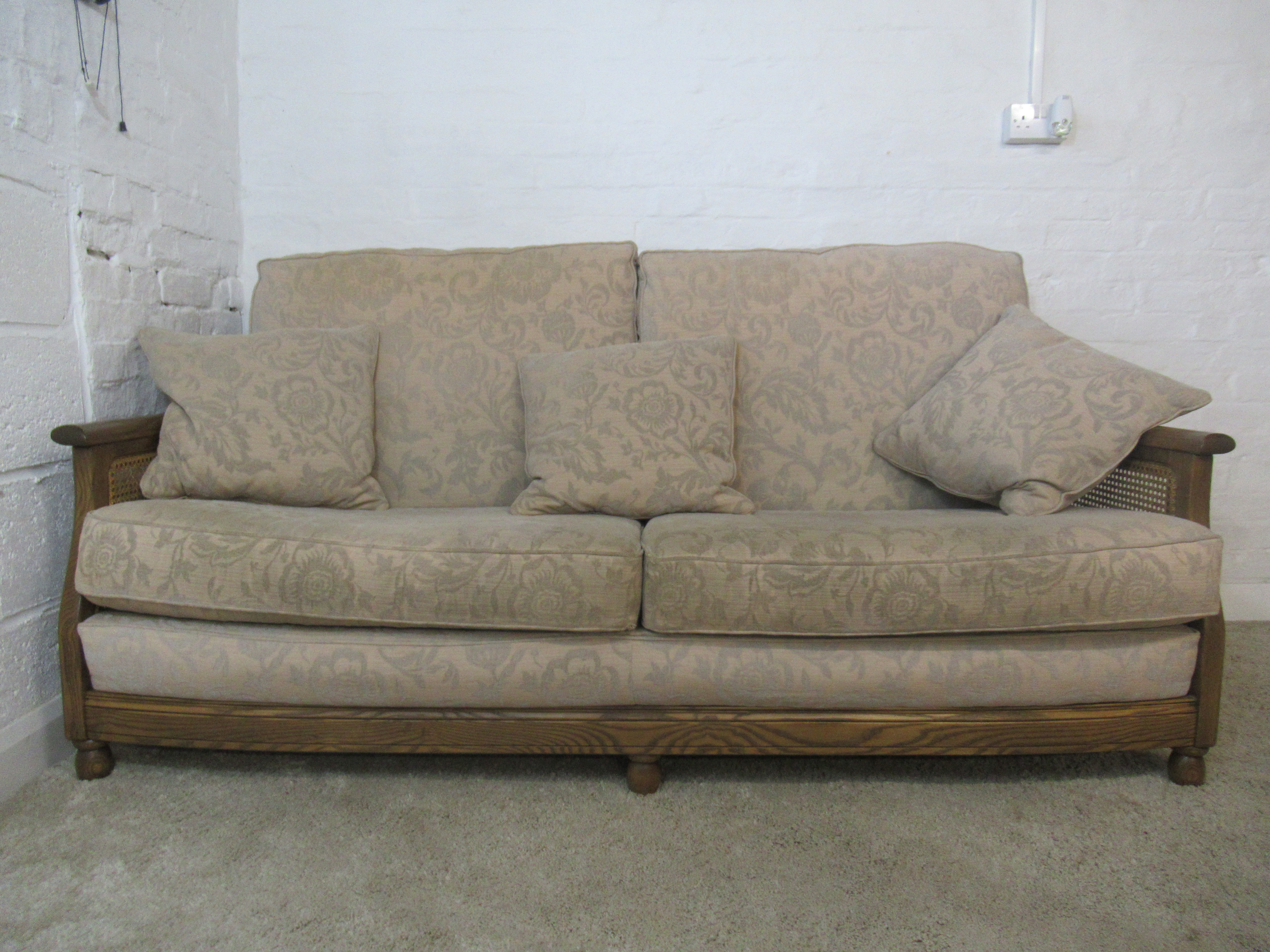 Ercol Bergere Golden Dawn Finish Solid Ash Three Seater Sofa With