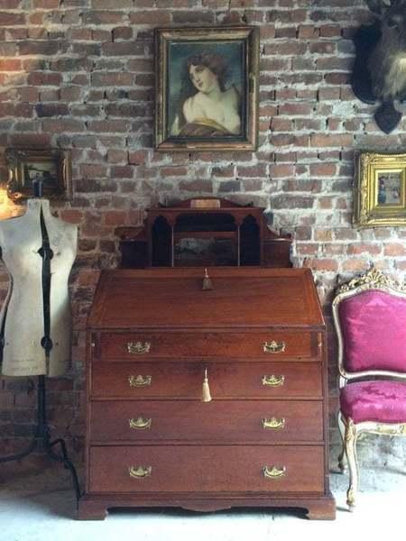 Antique Mahogany Bureau Writing Desk Edwardian 20th Century