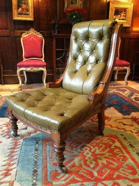 Antique Leather Armchair Chesterfield Style