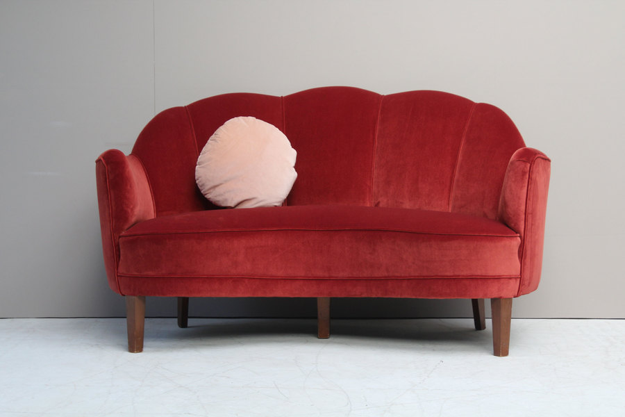 Refurbished Danish Midcentury 1940s Two Seater Banana Sofa