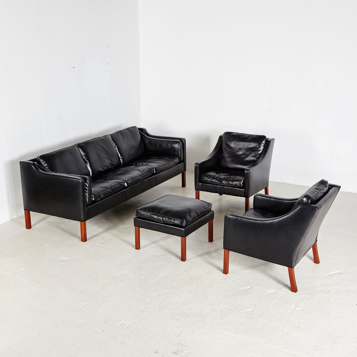 Model 2213 Leather Living Room Set By Børge Mogensen For Fredericia, 1962