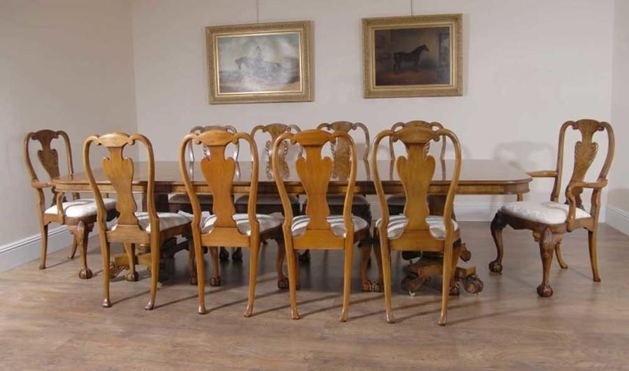 English Georgian Walnut Dining Table 10 Queen Anne Chairs Vinterior
