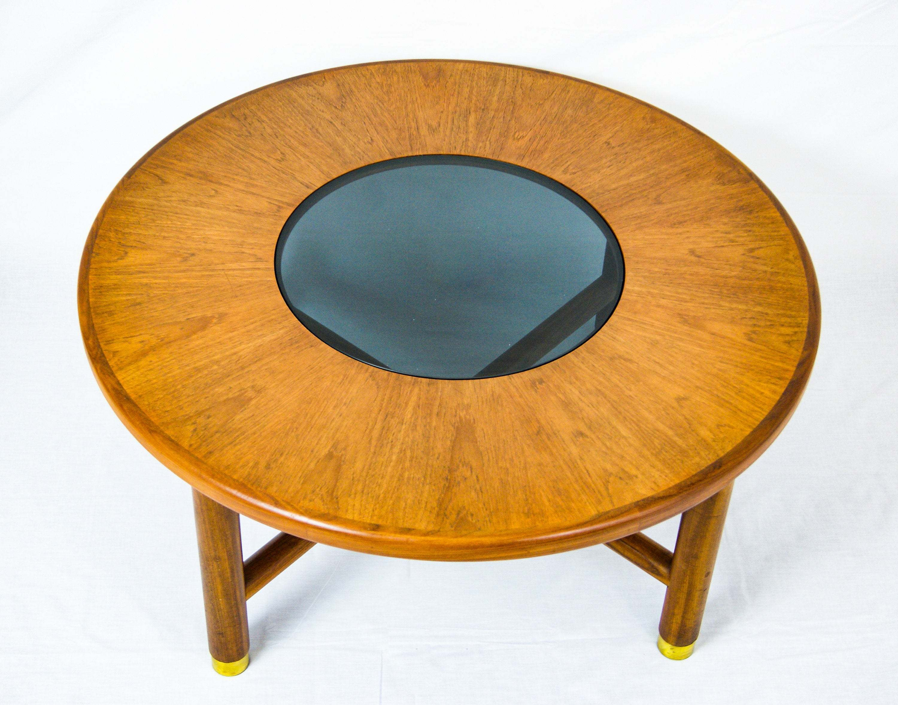 G Plan Teak Wood Round Coffee Table With Smoked Glass Top And Brass Feet