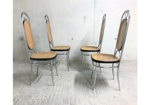 Thonet No 17 Chrome Dining Chairs, Set Of Four, 1970s