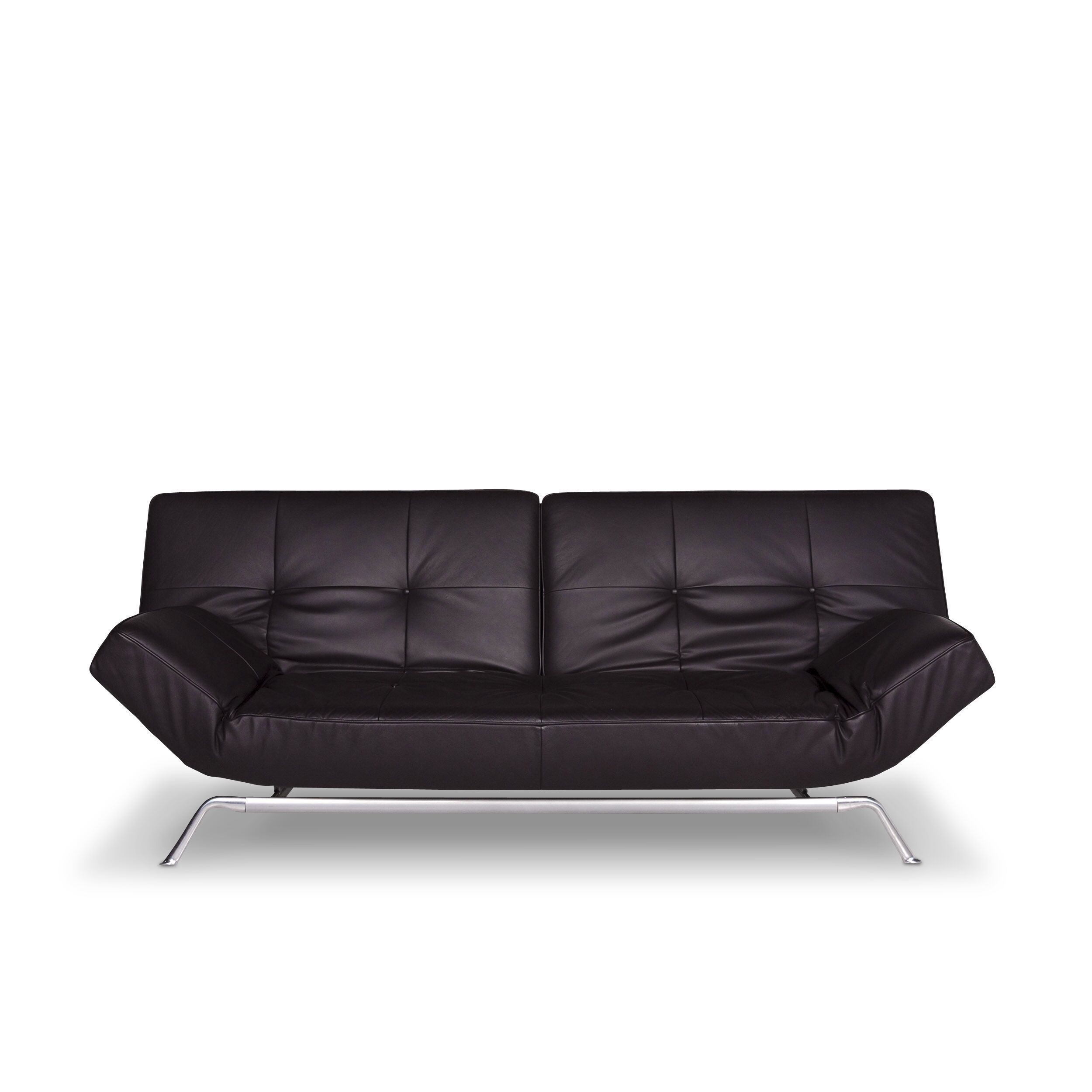 Ligne Roset Smala Designer Leather Sofa Black Two Seater Sofa Bed Couch 9720