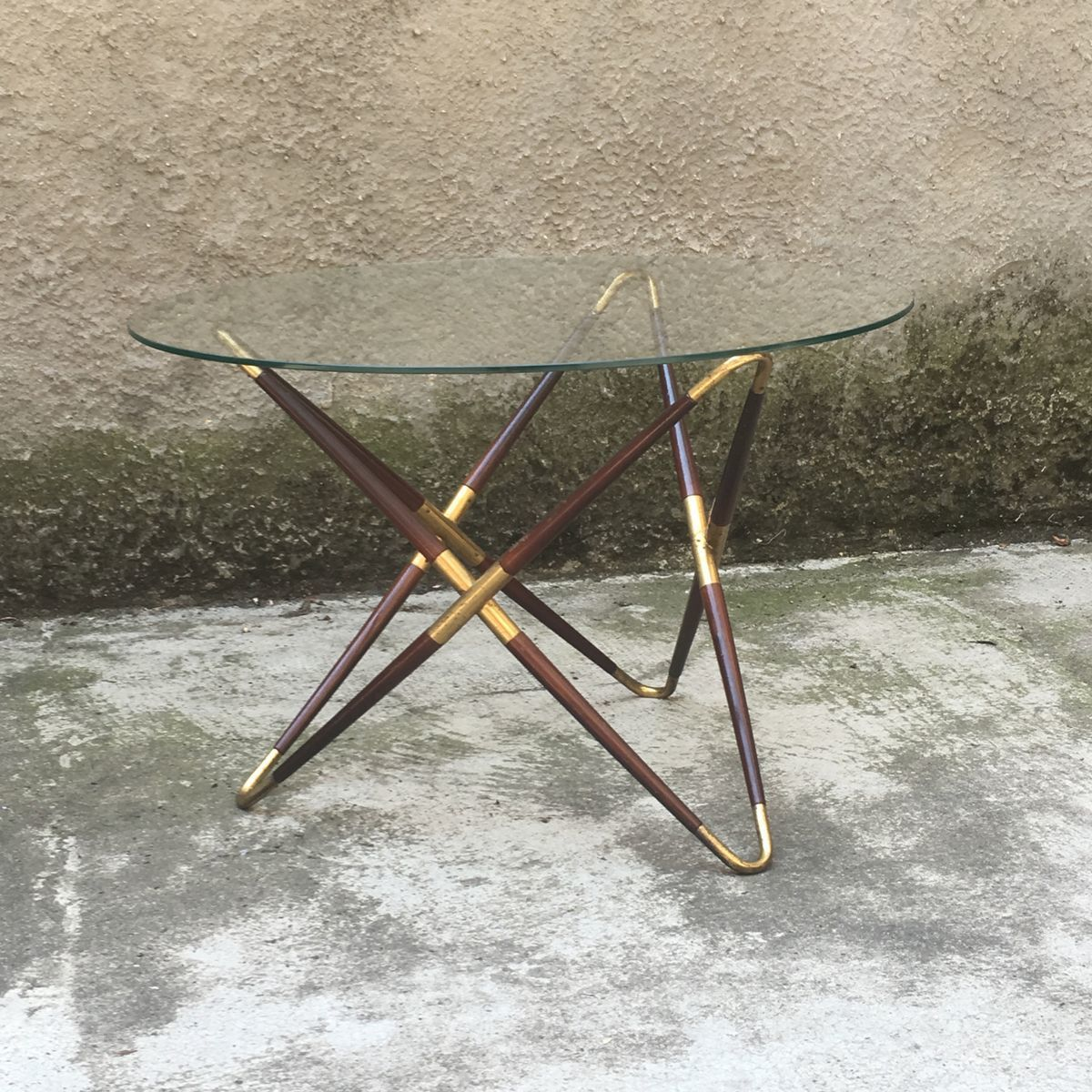 Italian Glass Coffee Table.Italian Brass And Glass Coffee Table By Cesare Lacca 1950s