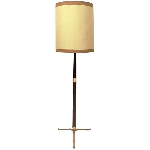 Elegant Midcentury Wood Brass And Varnished Metal Floor Lamp Italy 1950s